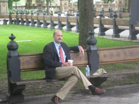 Interviewing Blonsky on Vaux's benches in the Mall in Central Park
