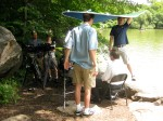 Sam Shiverick and Corey Stienecker provide shade
