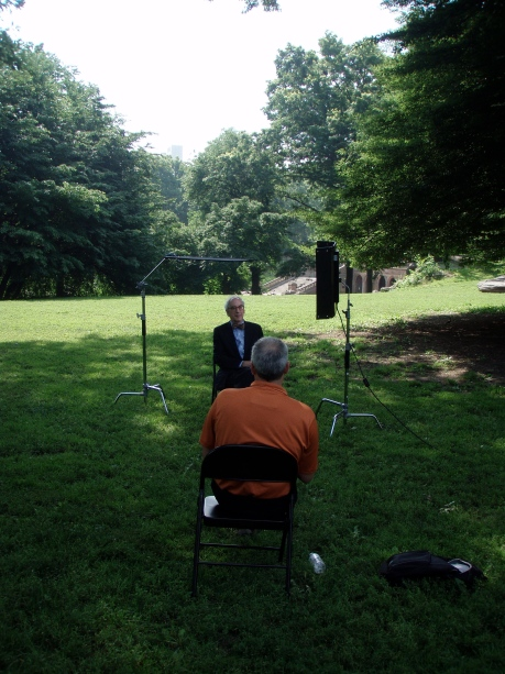 interviewing Morrison Heckscher, with a view of Bethesda Terrace