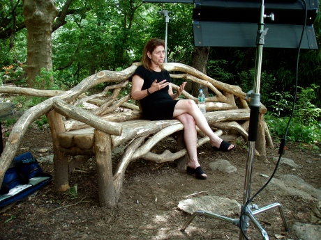 The historian talks about her park sitting on one of Vaux's rustic benches, restored by the Conservancy